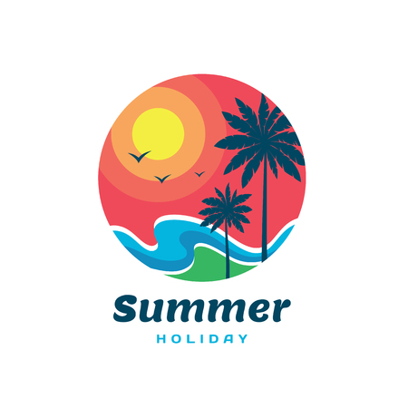 Summer holiday - concept business logo template. Travel vector illustration. Vacation creative sign. Tropical paradise symbol. Sun, sunset, sky, sea waves, palms, coast. graphic design element.