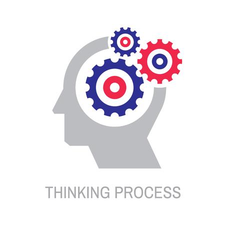 Ludzka głowa z koła zębate zębate - koncepcja biznes logo szablon wektor ilustracja. Znak kreatywny optymalizacji pod kątem wyszukiwarek. SEO. Proces myślenia. Element projektu graficznego.