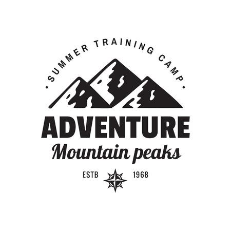 Adventure mountain peaks - concept logo badge for t-shirt clothing. Retro vintage style. Fashion graphic design. Explore expedition. Summer training camp. Creative emblem. Black & white colors. Ilustração