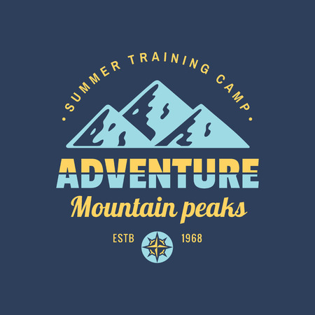 Adventure mountain peaks - concept logo badge for t-shirt clothing. Retro vintage style. Graphic design. Explore expedition. Summer training camp. Creative emblem. Two colors on dark background. Ilustração