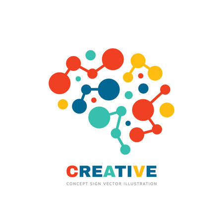 Kreatywny pomysł - biznes wektor logo szablon ilustracja koncepcja. Streszczenie znak ludzkiego mózgu. Geometryczna kolorowa struktura. Symbol edukacji umysłu. Element projektu graficznego.