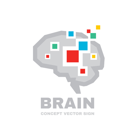 Human brain - business vector logo template concept illustration. Abstract geometric structure. Mind education symbol. Graphic design element.