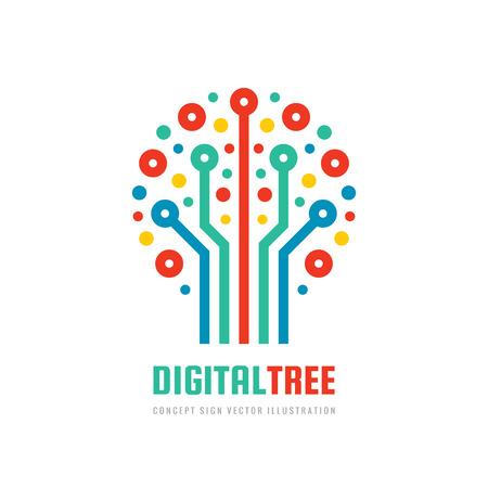 Árbol digital - concepto de plantilla de logotipo de empresa de vector en estilo plano. Signo de red informática. Elemento de diseño gráfico electrónico. Icono de Internet.