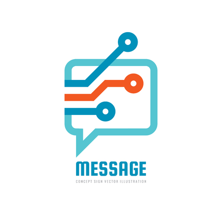 Message - vector logo template concept illustration. Speech bubble creative sign. Internet chat icon. Modern computer technology symbol. Abstract geometric design element. Logo