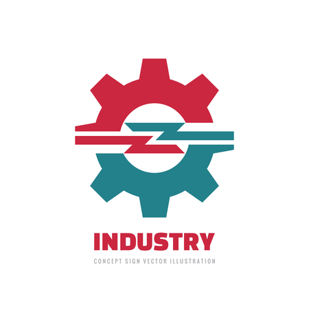 Industry gear - concept business logo template vector illustration. Cog wheel abstract sign. Mechanic industrial technology graphic design icon. Logo