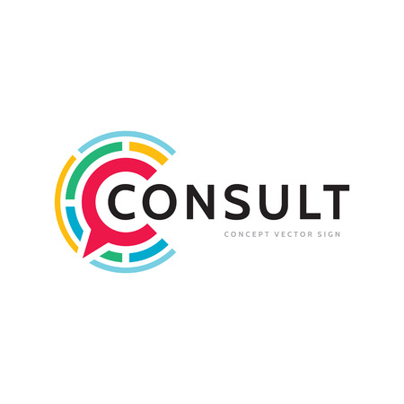 Consulting - concept business logo template vector illustration. Message creative sign. Dialogue chat talking icon. Social media symbol. Communication insignia. Graphic design element.