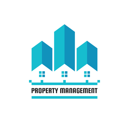 Property management concept business logo template vector illustration. Real estate creative sign. House cottages and skysrapers symbols. Building construction icon. Graphic design elements. 向量圖像