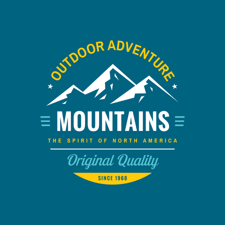Mountains outdoor adventure - concept logo badge for t-shirt clothing. Original quality. Retro vintage style. Fashion graphic design. Explore expedition. Mountaineering hiking. Creative emblem. Ilustração