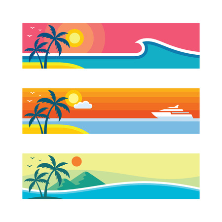 Summer travel - vector illustration in flat style. Vacation creative layouts. Tropical holiday paradise decorative posters. Graphic design background.