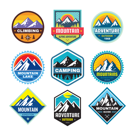 Set of adventure outdoor concept, summer camping, emblem, mountain climbing. Extreme exploration sticker symbol. Creative vector illustration. Graphic design element.