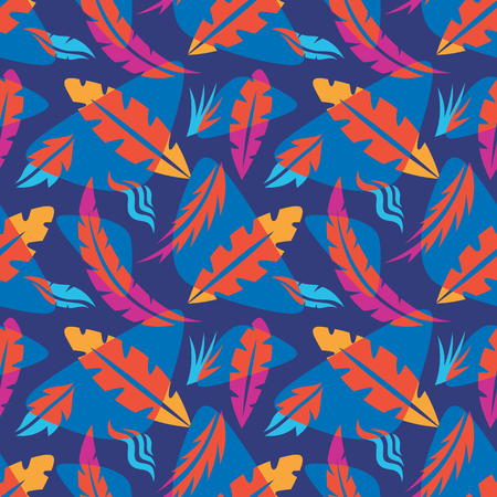 Leaves of exotic plants - creative vector illustration. Floral seamless pattern. Abstract concept background. Tropical summer nature. Graphic design element. Vintage art style. Collage contemporary. Vector Illustration