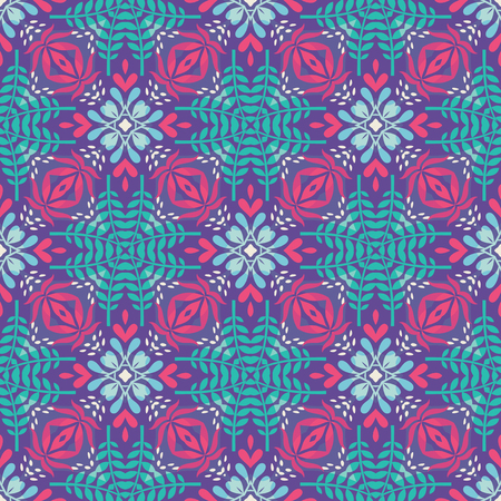Abstract geometric background in pink and blue colors. Ethnic boho style. Mosaic ornament structure. Carpet fragment. Ilustrace