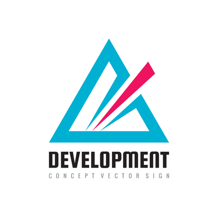 Development abstract triangle - vector logo template concept illustration for corporate identity. Pyramid sign. Design element.