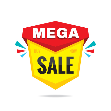 Sale mega discount - concept badge vector illustration. Abstract sticker banner. Graphic design element.