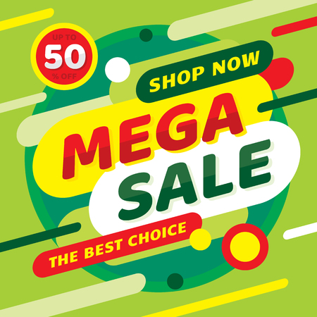 Sale mega discount up to 50% off. Concept promotion banner. Green color. Advertising poster. Illustration