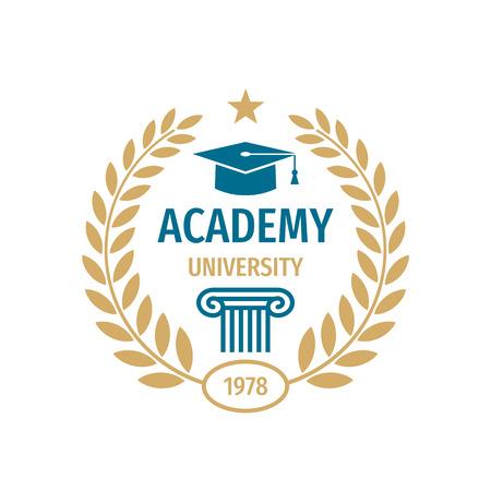 University college school badge logo design. Academy emblem.