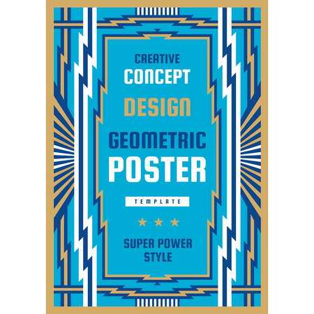 Graphic design poster. Vertical banner. Vector illustration. Geometric abstract background. Art Deco style. Çizim