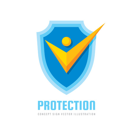Check mark on shield logo design. Stylized human silhouette sign. Certified badge. Illustration