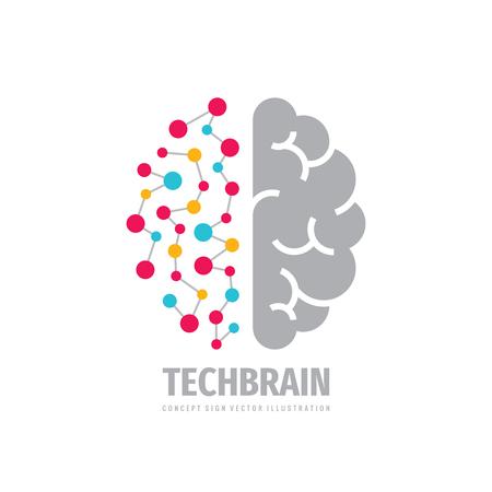 Tech brain logo design. Future technology concept sign. Creative idea symbol. Intelligence mind icon.