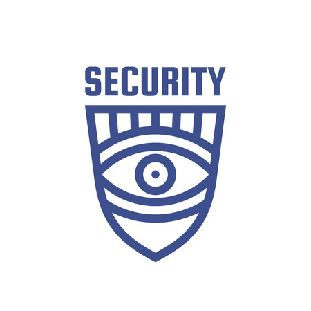 Security concept logo design. Eye and shield sign. Illusztráció