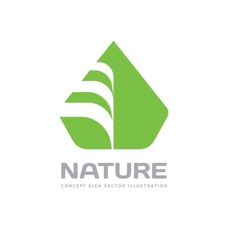 Nature vector  design in flat style. Green leaf creative sign. Organic product symbol.