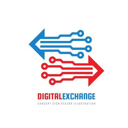 Digital exchange - concept business  design. Arrows synbols. Electronic technology sign.
