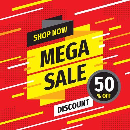 Mega sale concept promotion banner. Discount 50% off creative poster. Shop now layout.
