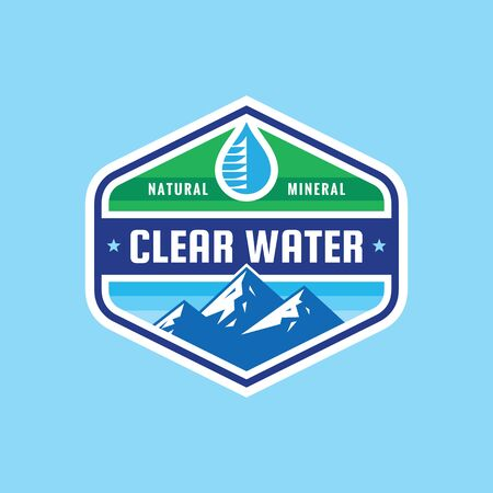 Clear water concept badge design. Mineral natural composition. Vector illustration.