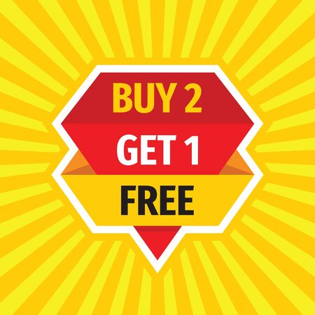 Buy 2 Get 1 Free - concept sale badge vector design. Advertising promotion banner.