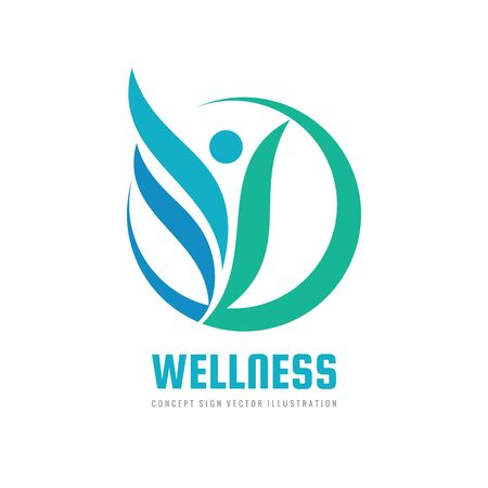 Wellness woman vector logo design. Abstract stylized human character sign. Healthcare concept symbol.
