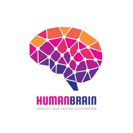 Creative idea - business vector logo template concept illustration. Abstract human brain creative sign. Polygonal geometric structure. Mind education symbol. Triangle design element.