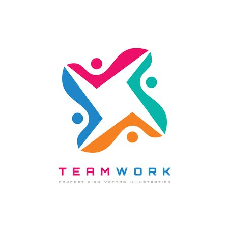 Teamwork - vector logo template concept illustration. Human character. People sign. Social media abstract symbol. Design element. Ilustração