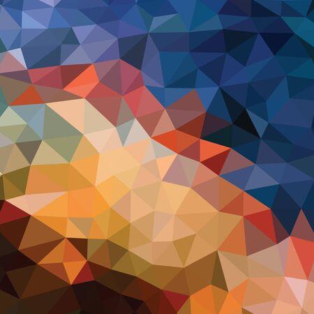 Fondo abstracto poligonal - patrón de vector en colores naranja, marrón, beige, azul. Telón de fondo geométrico. Fondo de pantalla del sitio web. Ilustración de vector