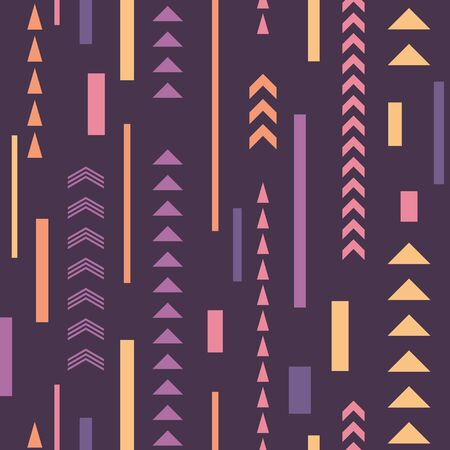 Abstract seamless pattern. Geometric decorative backgound. Up arrows structure. Vintage ornament backdrop. Vector illustration.