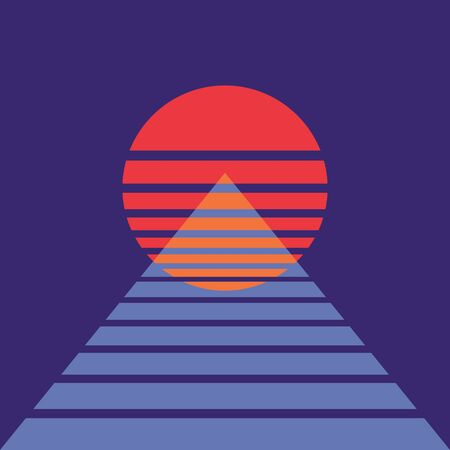 Abstract background with sun and pyramid in retro style. For music album cover. Poster for night dance party. Ilustração
