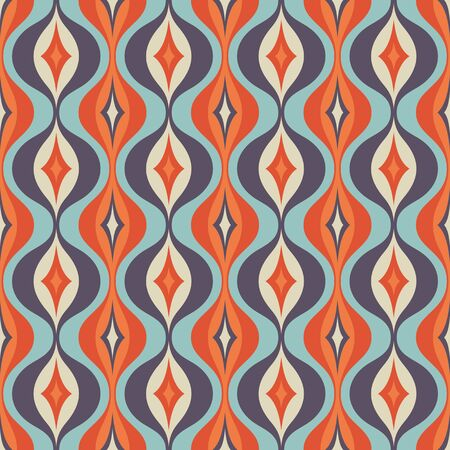 Mid-century modern art vector background. Abstract geometric seamless pattern. Decorative ornament in retro vintage design style. Atomic stylized backdrop. Imagens - 128889065