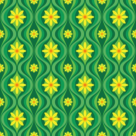Yellow flowers and green leaves. Mid-century modern art vector background. Abstract geometric seamless pattern. Decorative ornament in retro vintage design style. Imagens - 128889089