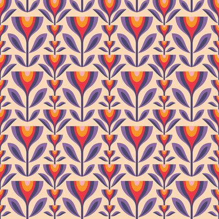Flowers and leaves. Mid-century modern art vector background. Abstract geometric seamless pattern. Decorative ornament in retro vintage design style. Floral backdrop. Foto de archivo - 128889092