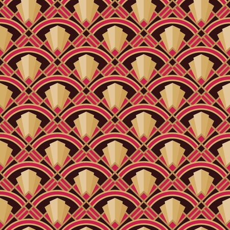 Art Nouveau decorative background. Abstract geometric seamless pattern. Vector illustration. Design element. Vintage retro graphic style.