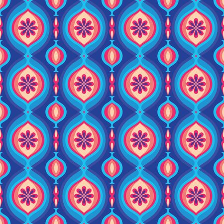 Mid-century modern art vector background. Abstract geometric seamless pattern with flowers. Decorative ornament in retro vintage design style. Ilustração