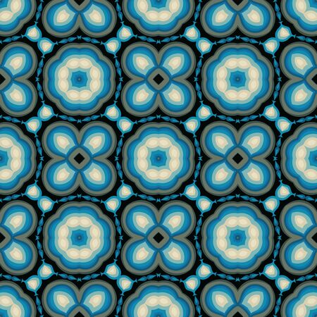 Abstract background seamless pattern in blue colors. Carpet ethnic ornament. Vector illustration. Graphic design.