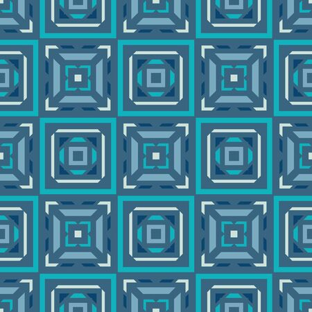 Abstract background seamless pattern in blue colors. Carpet ethnic ornament. Exotic boho style. Vector illustration. Graphic design. Ilustração