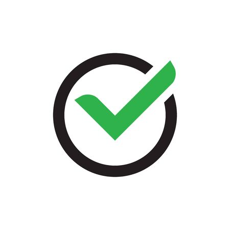 Check mark vector web icon. Universal business sign for answer of yes. Concept symbol.