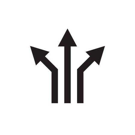 Three arrows - black web icon vector illustration. Direction sign. Graphic design element. Imagens - 132071790
