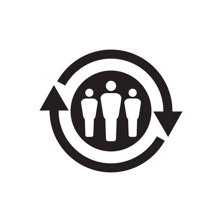 Personnel change concept black icon design. People staff and arrows cycle sign. Teamwork symbol. Social network insignia.