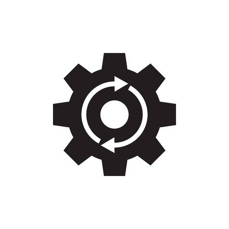 Gear cogwheel with arrows - black vector icon on white background for website, mobile application, presentation, infographic. SEO setting concept sign design. Ilustração