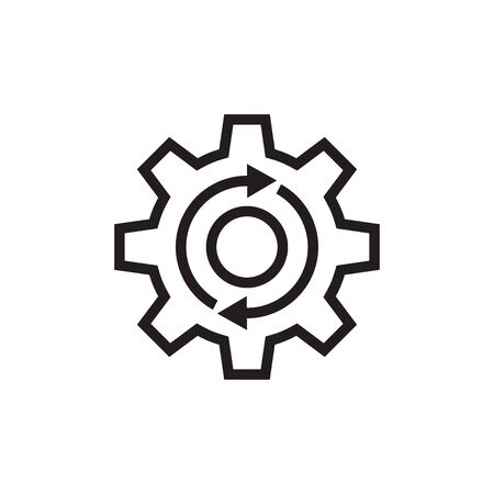 Gear cogwheel with arrows - black vector icon on white background for website, mobile application, presentation, infographic. SEO setting concept sign design. Line art style.