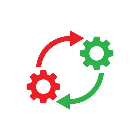 Gears wheel with arrows - concept icon vector design. SEO creative logo sign. Exchange interaction symbol. Imagens - 133557292