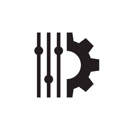 Filter control setting - concept black icon design. Setup symbol. Gear SEO sign. Vector illustration.