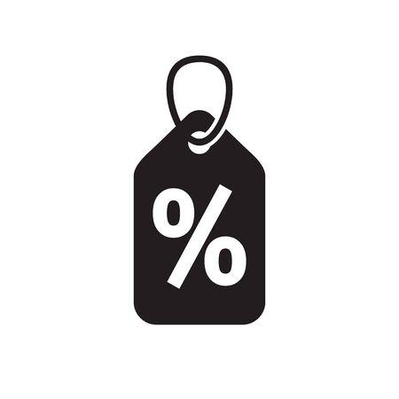 Discount offer percent tag - concept black icon design. Promotion sale label. Vector illustration.